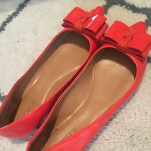 J. Crew Patent Pointed Toe Coral Flats sz 9.5